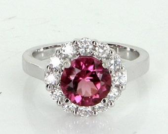 Pink Tourmaline Diamond Princess Ring Vintage 14 Karat White Gold Estate Jewelry