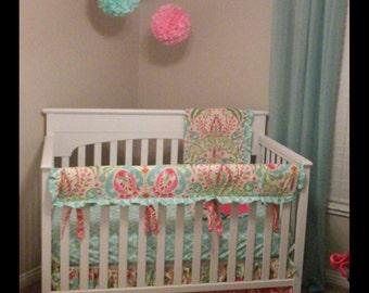 Baby Girl Crib Bedding Pink Aqua Kumari Garden Teja Railguard Set