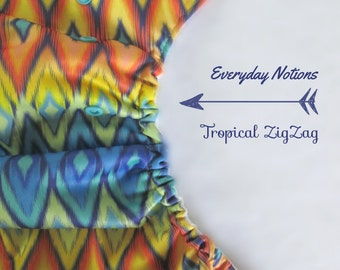 One Size Pocket Cloth Diaper - Tropical Zigzag - Nykibaby OS Diaper
