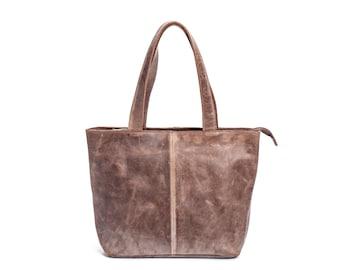 Brown Leather Tote Bag, Distressed Leather Tote Bag, Women Handbag, Shoulder Bag, Tote Handbag, Leather Tote Bag, Sale
