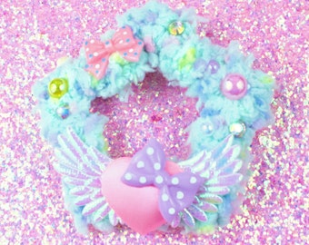 Sweet Lolita Hair Accessory-Fairy Kei Accessory-Alligator Clip-Women's Hair Accessory-kawaii accessory-Lolita head accessory-Mint-Pink-Angel