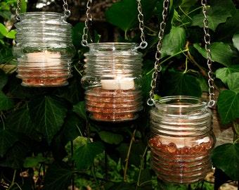 Hanging candle holders - rustic wedding candleholders (set of 3)