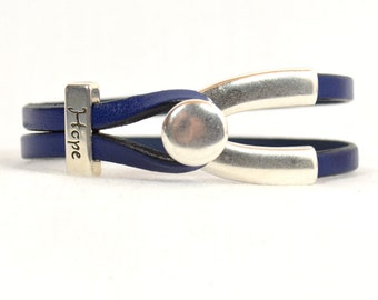 """Chronic Fatigue Syndrome (CFS) """"Hope"""" Bracelet - Blue 5mm Leather Bracelet with Antique Silver Hope Slider and Wishbone Toggle Clasp(5F-364)"""