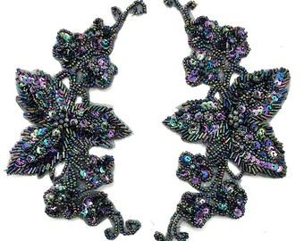 "Designer Flower Motif Pair Appliqué, Moonlight Sequin Beaded, 7.5"" x 4""  -B004A"