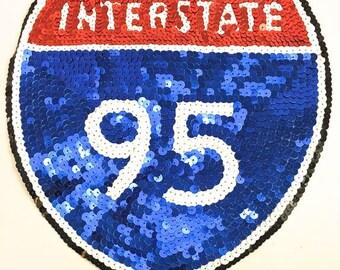 "Interstate 95 Road Sign Appliqué, All Sequins, 9"" x 9"" -7867-1371"