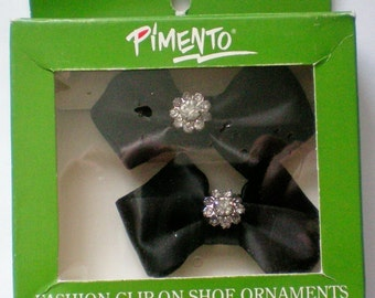 Pimento Black Satin Rhinestone Shoe Clips - 4482