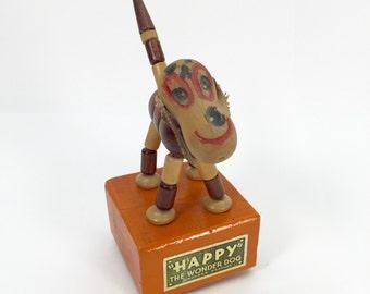 Kohner Push Button Puppet // 1940s 50s 'Happy' the Wonder Dog Vintage Wooden Toy