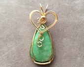 Chrysoprase 14K Gold Filled Wire Wrapped Pendant