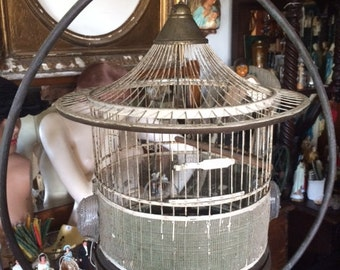 Antique Small Wire Bird Cage, Wire and Metal, Removable Tray, Approx 13 inches Round