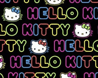Hello Kitty Neon Word Strip Fabric - Fabric by the yard