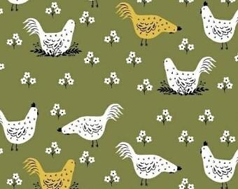 Chicken Farm Fabric - Windham Fabrics Chickens quilting cotton fabric