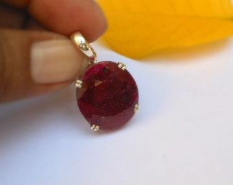 Ruby Pendant Necklace - Birthstone Necklace - Gemstone Necklace - Large Ruby Pendant July Birthstone Necklace Dyed Ruby 925 Silver Pendants