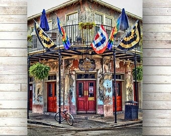New Orleans Art - GOOD FRIENDS BAR - French Quarter Doors - Architecture - Door Photo - Flags - Nola - Birch Box - Canvas Print - Original