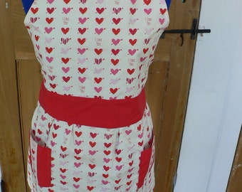 Adult hearts pink and red apron