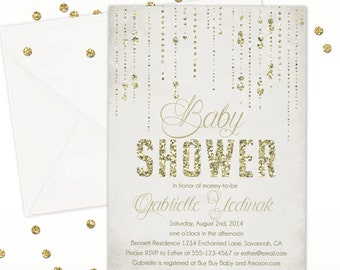 Gold Glitter Rain Baby Shower Invitation - Custom Baby Shower Invitation - DIGITAL -  DIY Printable Invitation