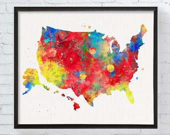 Usa Map Wall Art, Usa Map Poster, United States Wall Art, United States Map, Watercolor USA Map,  Print, Custom Colors, Gift Idea, Framed