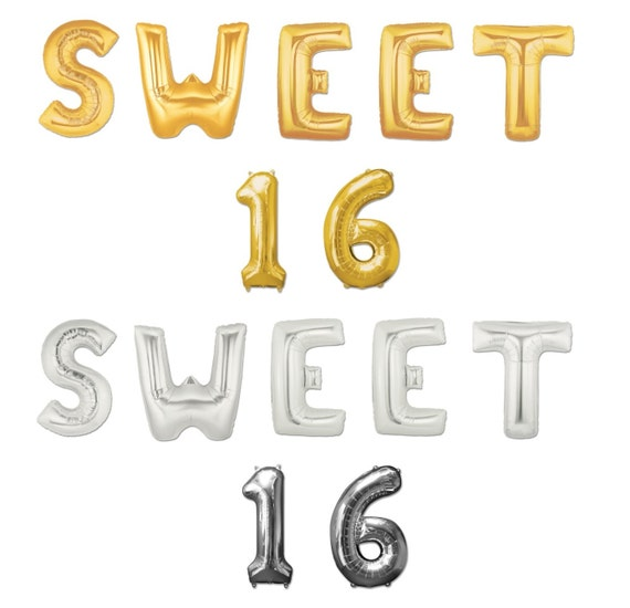"""16"""" Or 40"""" SWEET 16 Giant Gold Silver Foil Letter Helium"""