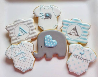 1 DOZEN - Party Favors Baby Shower Elephant Monogram 1st Birthday Custom Decorated Cookies