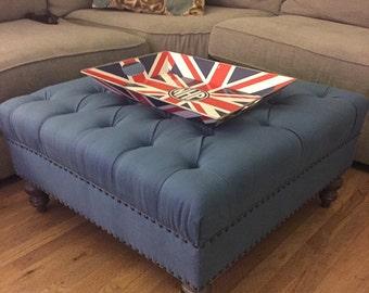"""Tufted Upholstered Ottoman, 32x32, Linen Fabric , """"Karen"""" Ottoman"""