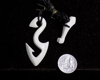 Handmade bone hook necklace