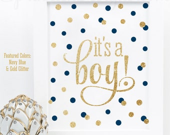 Its A Boy Sign, Baby Shower Decorations, Baby Boy Baby Shower Decorations, Navy Blue Gold Glitter Printable 8x10 It's A Boy Welcome Sign