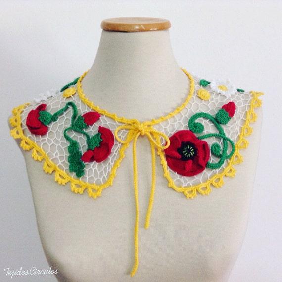 Peter Pan crochet collar, crochet necklace, romantic collar, elegant collar, romantic collar, exclusive crochet collar, irish lace collar