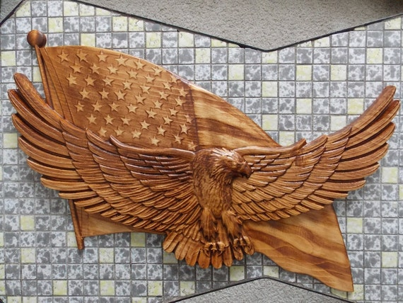 American bald eagle flag by thewoodgraingallery