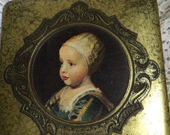Victorian embossed hinged metal tin Made in Holland features famous painters Rembrandt Hooch Hals