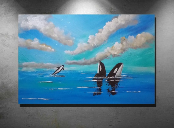 Abstract art, Acrylic paintings, large art painting, wall art canvas, large original painting, Orca Whale, wildlife painting