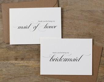 5 x Bridesmaid Thank You Card, Thank You For Being My Maid of Honor, Thank You Card Bridesmaid, Bridesmaid Gift, Thank You Wedding Cards, K2
