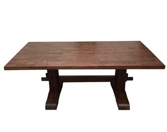 Red Mahogany Trestle Farmhouse Table / Kitchen Table / Desk