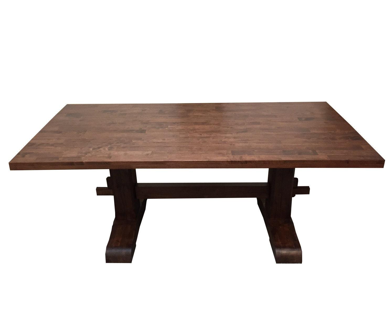 Red Mahogany Trestle Farmhouse Table Kitchen Table Desk
