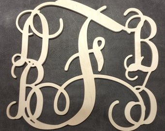 Five Letter 36 inch wide by 34 inch high Family Vine Wooden Monogram