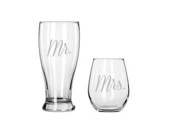 Mr. & Mrs. Glass Drinkware Set