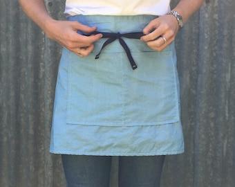 Linen half apron/ cafe apron light chambray blue linen / cotton