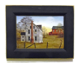 Primitive Decor, Morning has Broken, Country Farm House, Billy Jacobs, Art Print, Wall Decor, Handmade, 9X7, Custom Wood Frame, Made in USA