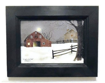 Seasonal Decor, A Light in the Stable, Billy Jacobs, Framed Art Print, Christmas Decor, Handmade, 7X9, Custom Wood Frame,  Made in the USA
