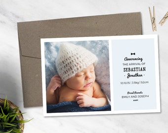 Affordable Printable Birth Announcement Card - Boy