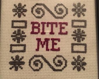 Bite Me Sassy Cross Stitch
