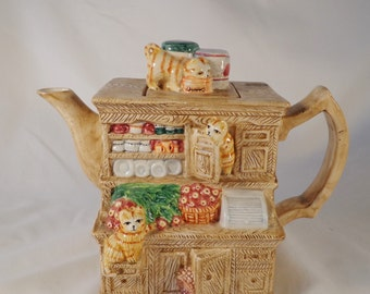TEAPOT ~  The Cats in the Cupboard, Hutch, dresser