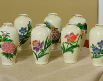 Seven Vintage Homco Bud Vases