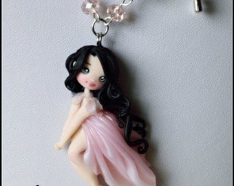 Necklace polymer clay handmade doll