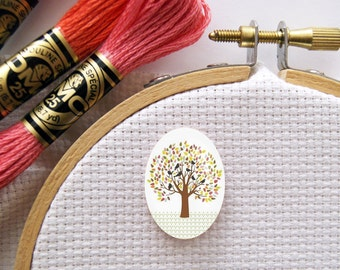 Magnetic Tree with Birds Needle Minder for Cross Stitch, Embroidery, & Needlecrafts (18mmx25mm with Strong Magnet)