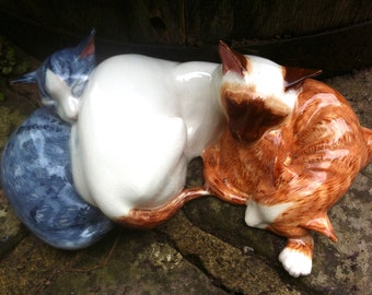 Silver tabby, Siamese and marmalade cat figurine, cat sculpture, by Clare McFarlane