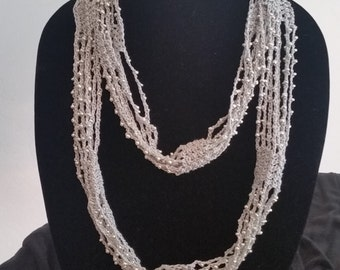 Silver Crochet Beaded Necklace