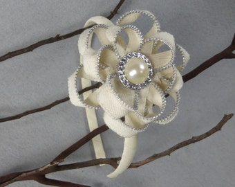 Off White Flower Headband -Zipper Flower - Zipper Headband - Upcycled - Recycled -Repurposed -Girls Headband -Womens Headband -Baby Headband
