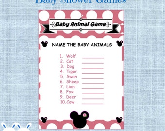 Minnie Mouse Baby Shower Baby Animal Game Disney Baby Shower Name That Baby Animal Game - Instant Download - Key Answer Name the Baby Animal