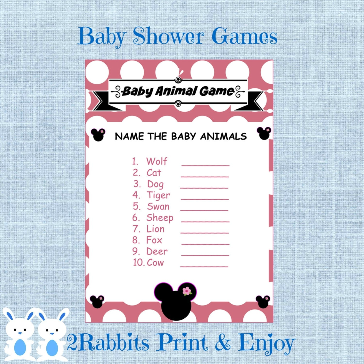 Minnie Mouse Baby Shower Baby Animal Game Disney Baby Shower