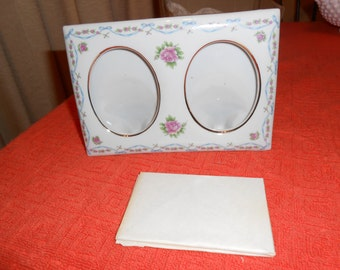 Beautiful Glass Hsa\\and Painted Lofton China Picture Frame