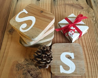 Monogram Wood Coaster Set of 6